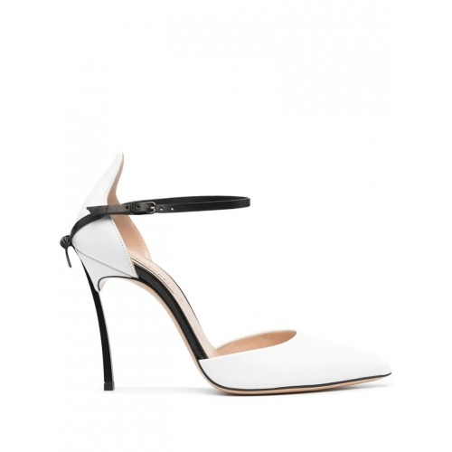 Women's White And Black Blade Penny Pump Exotic Spring NQAURAT