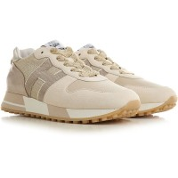 Hogan Women Sneakers Beige Casual Suede Leather for sale near me QFYYW7146