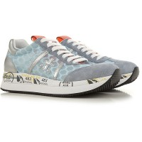 Premiata Women's Sneakers Blue Suede Leather, Mesh UGIVR7856