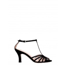 Women's Anna F. Sandals In Black Suede And Fabric Casual YOELZAY
