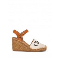 Women's Chloé Woody Wedge Espadrilles In Leather And Canvas in new look Fall GSGPRZD