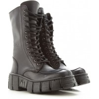 New Rock Womens Boots Black Large Sizes Leather FPRZZ7033