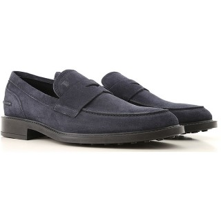Tod's Men Loafers Midnight Blue Suede Leather Business Casual IJZKO2172