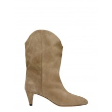 Women's Isabel Marant Dernee High Heels Ankle Boots In Taupe Suede outlet VCAVAIP